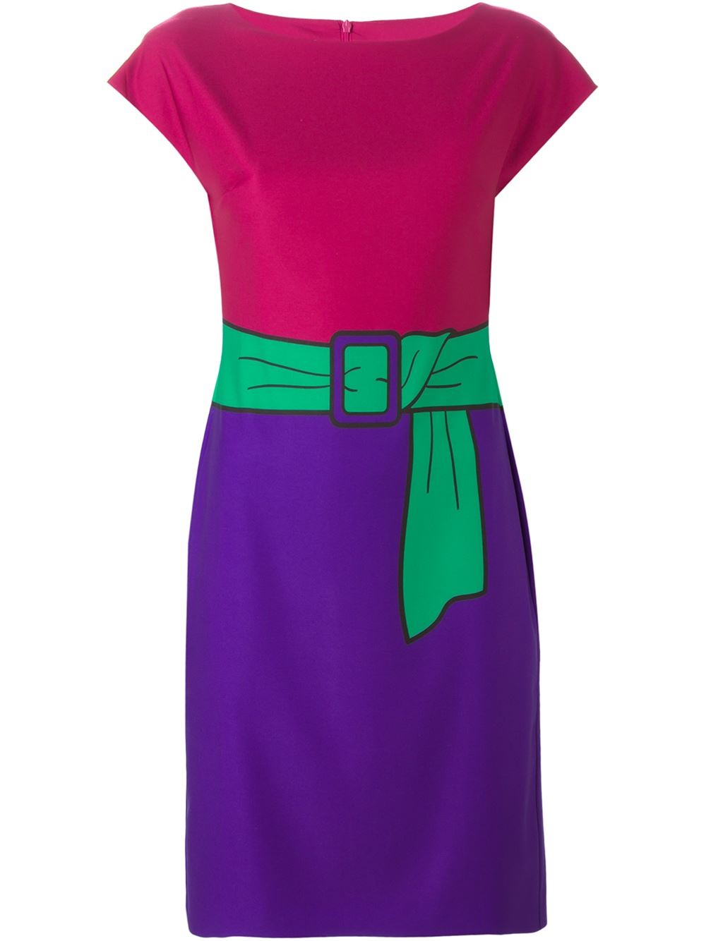 boutique moschino printed belt fitted dress in multicolor