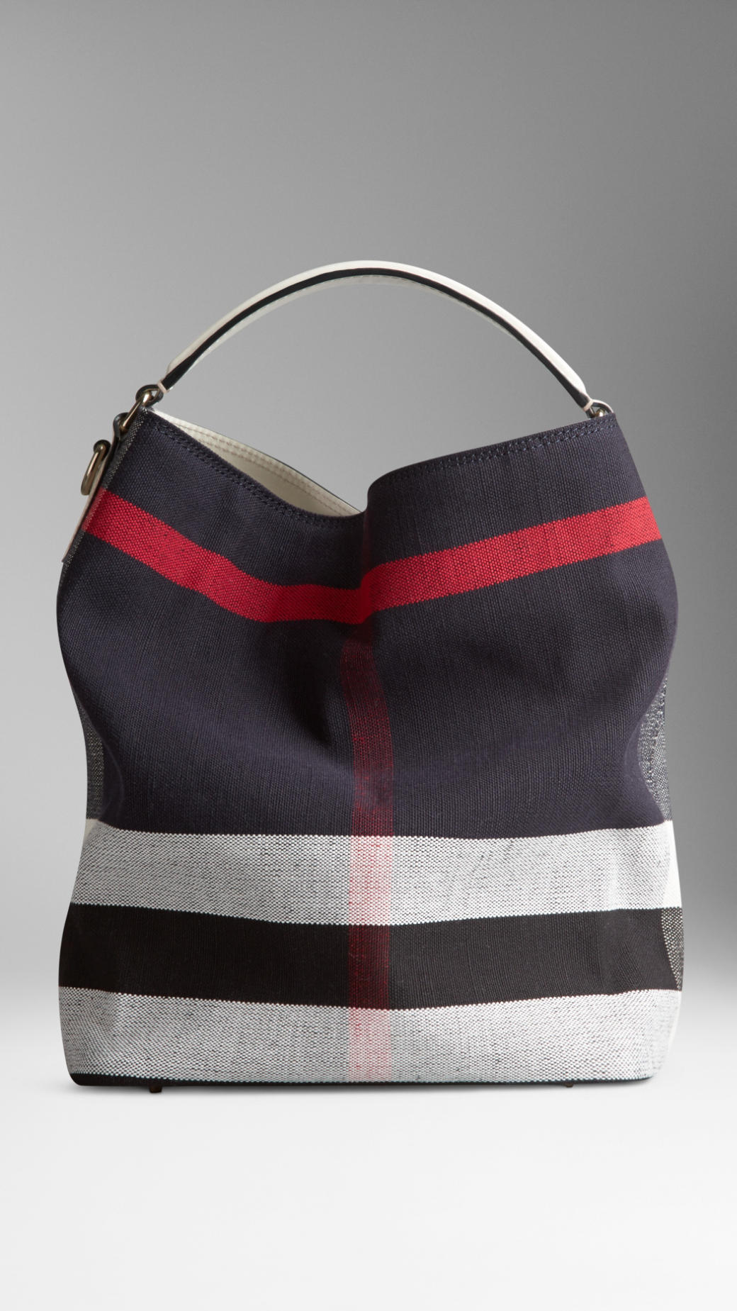 Burberry Medium Canvas Check Hobo Bag In Blue Lyst