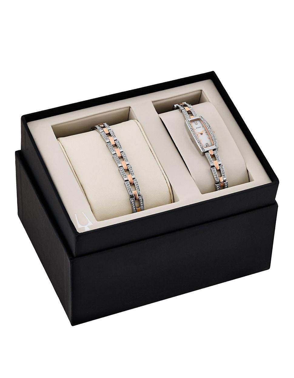 Bulova Ladies' Swarovski Crystal Rose Gold Tone Watch And ...