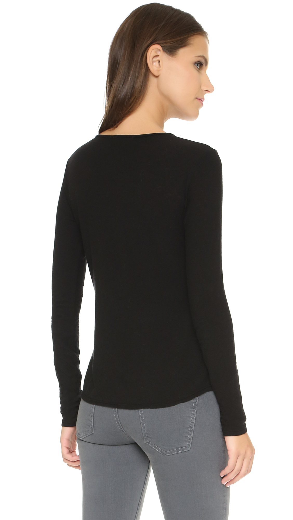 James perse superfine henley in black lyst for James perse henley shirt