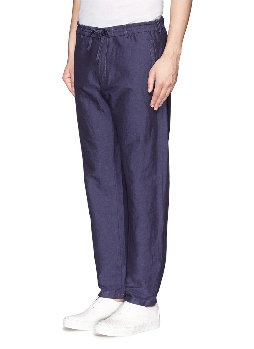 Lyst armani cotton linen chambray pants in blue for men for Chambray jeans