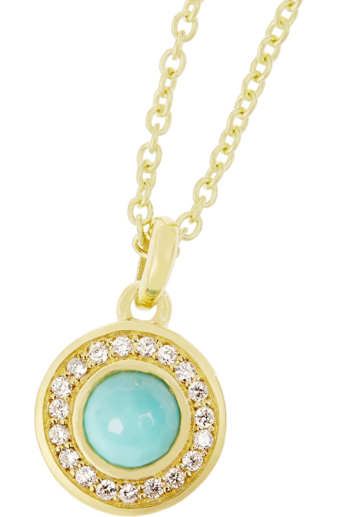 Ippolita Lollipop® 18-karat Gold, Turquoise And Diamond Necklace in Metallic