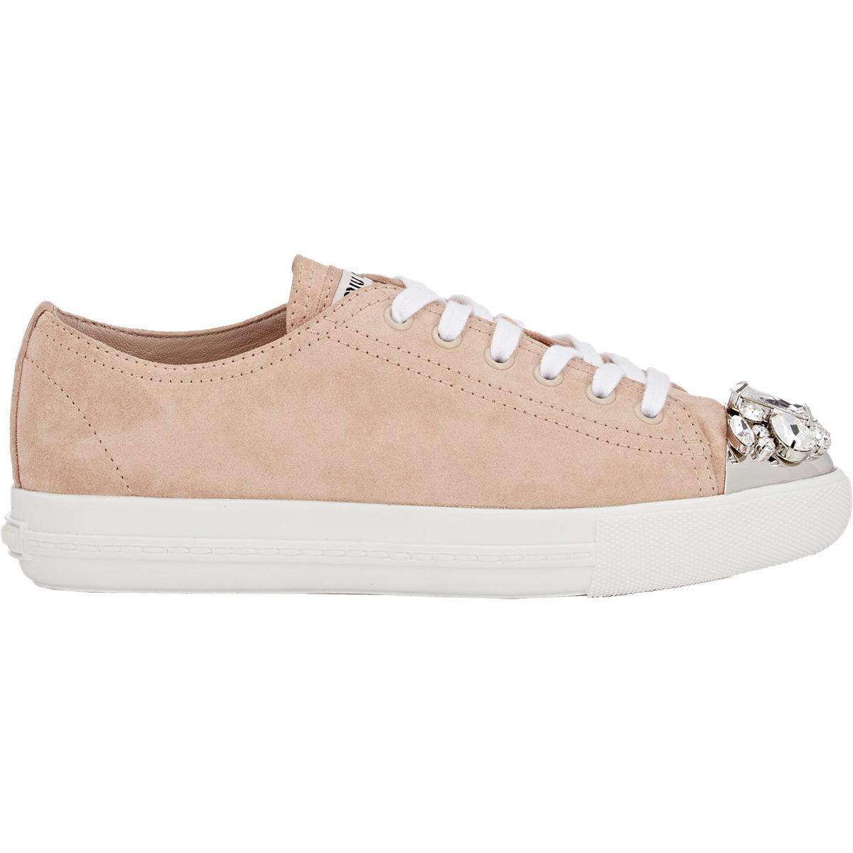 Miu Miu Jeweled Cap-toe Sneakers in