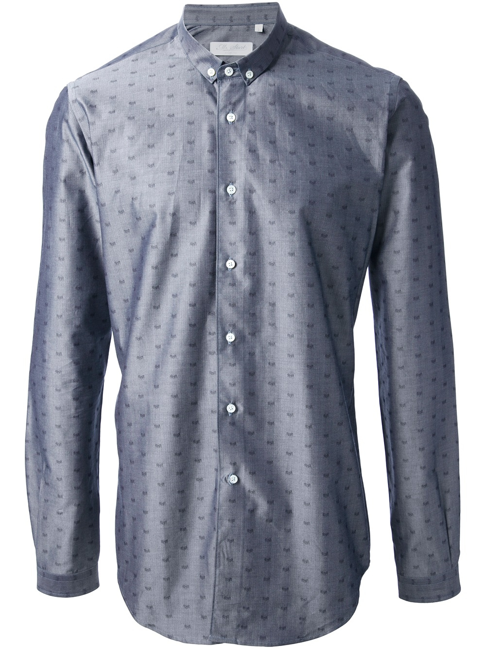 Mr start mini button down shirt in gray for men grey lyst for Mens grey button down dress shirt