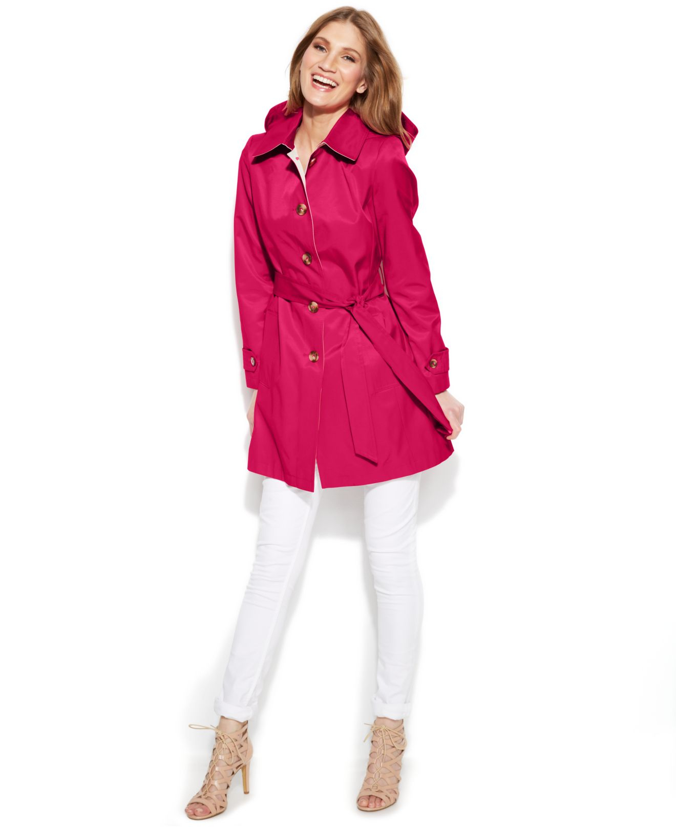 Dkny Buttoned Trench Coat in Pink | Lyst