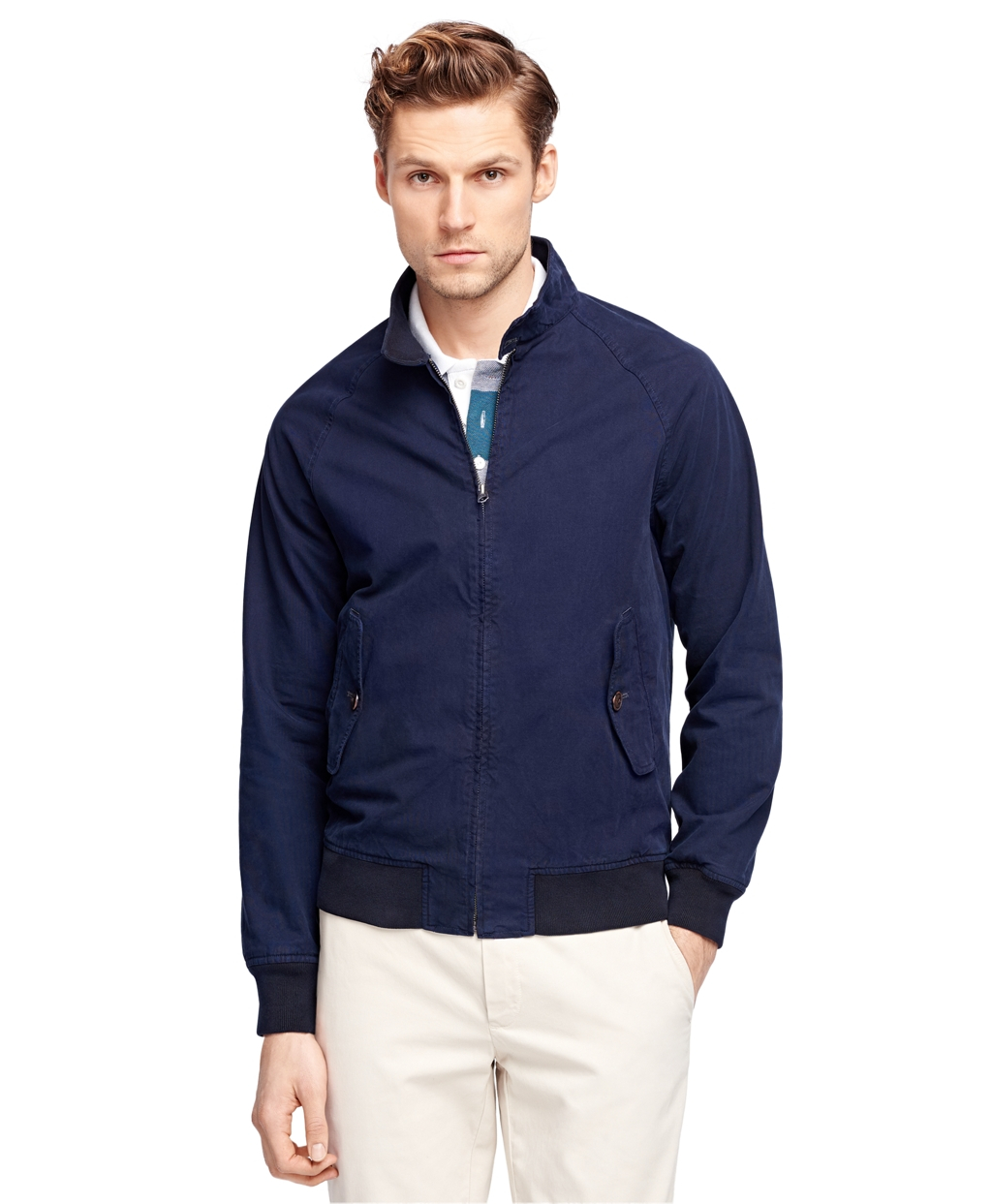 brooks brothers cotton zipfront jacket in blue for men lyst