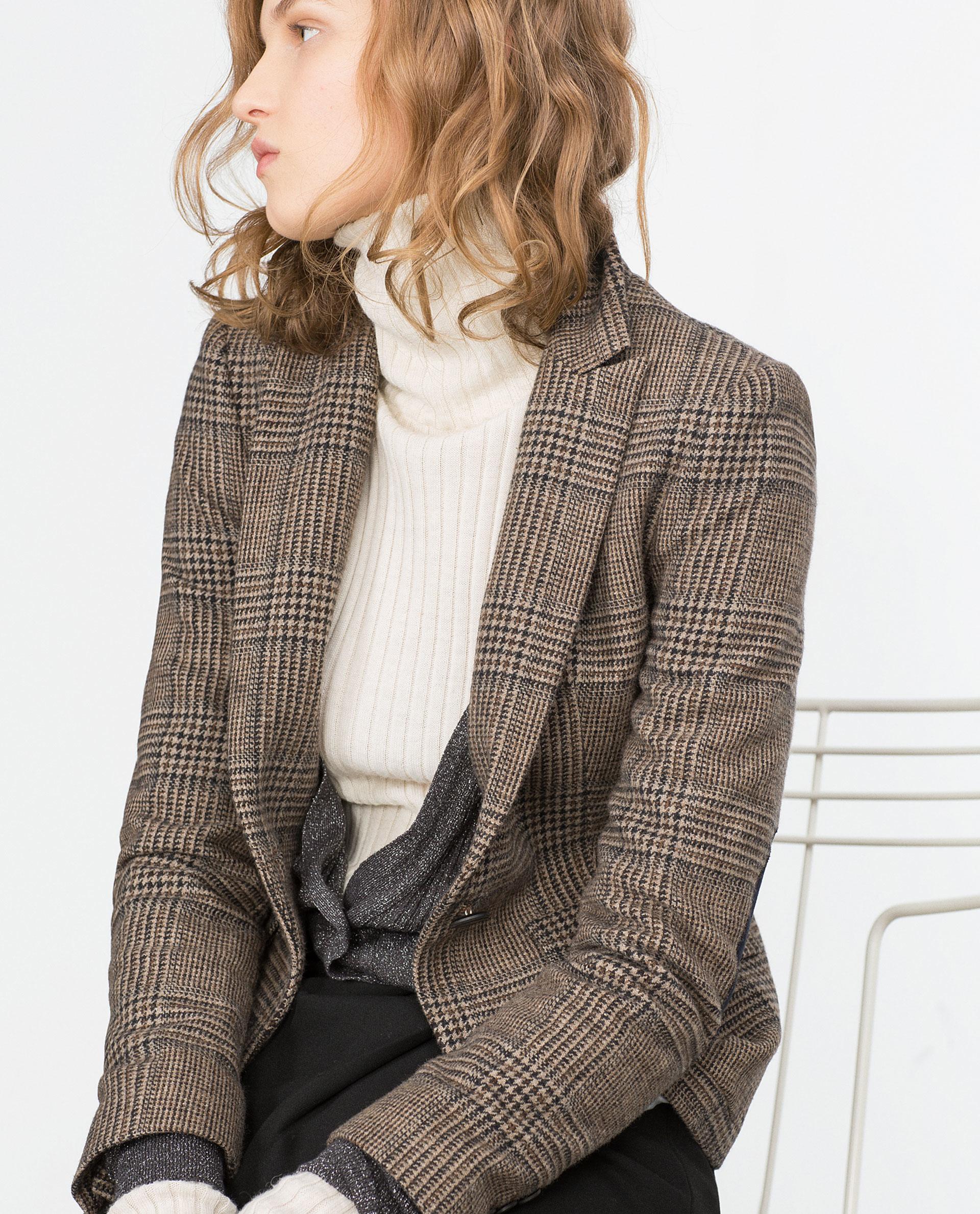 zara wool check blazer in brown lyst. Black Bedroom Furniture Sets. Home Design Ideas