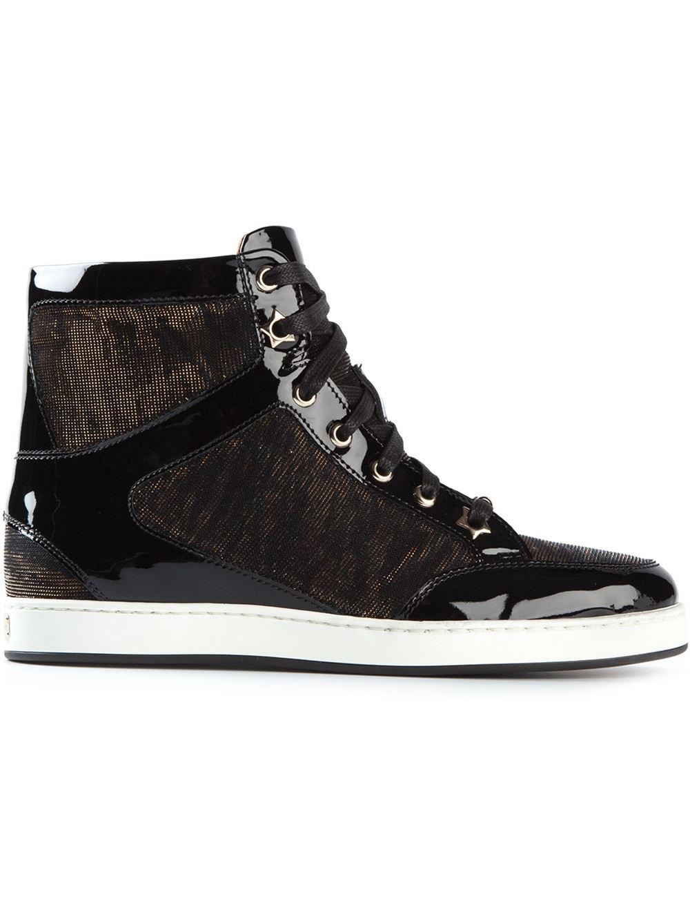 jimmy choo 39 tokyo 39 hi top sneakers in black lyst. Black Bedroom Furniture Sets. Home Design Ideas
