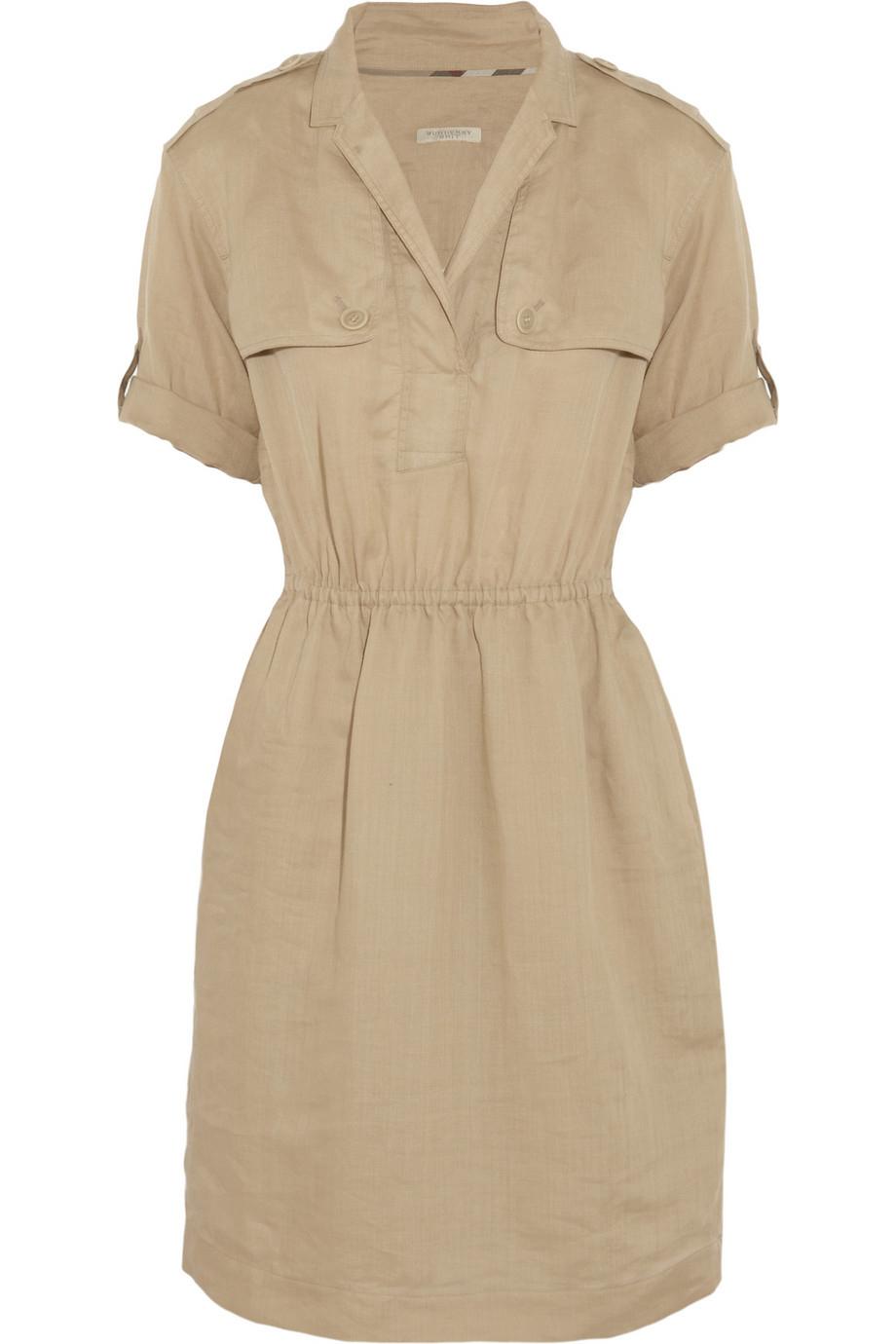 Lyst Burberry Brit Ramie Shirt Dress In Natural