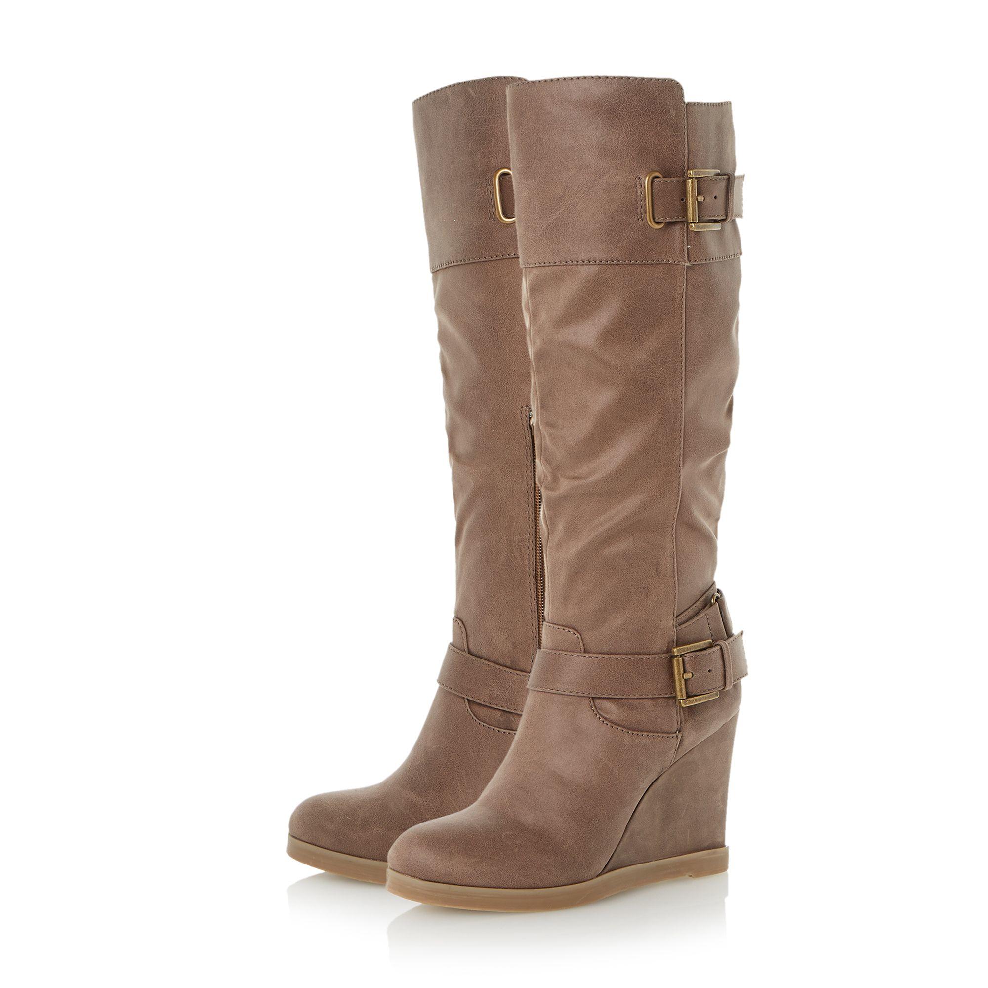 dune tantor buckle knee high wedge boots in brown lyst