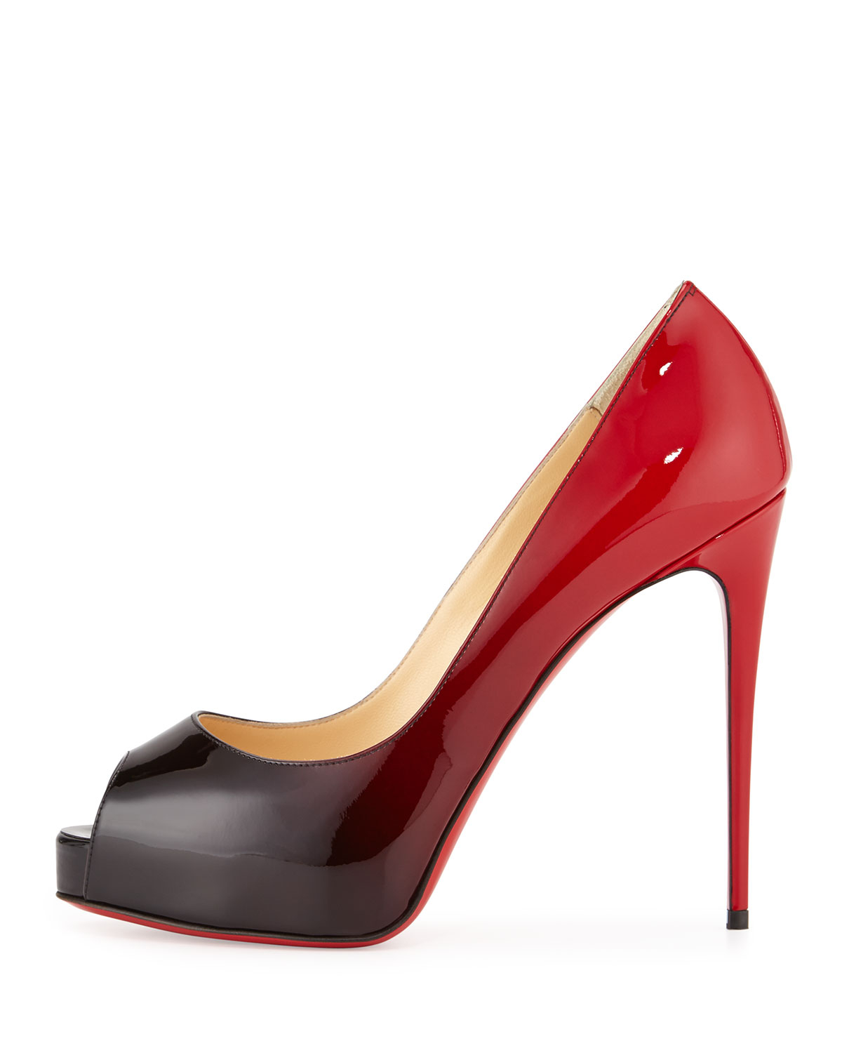 5e9a085ab65 Christian Louboutin Black New Very Prive Ombre Peep-toe Red Sole Pump