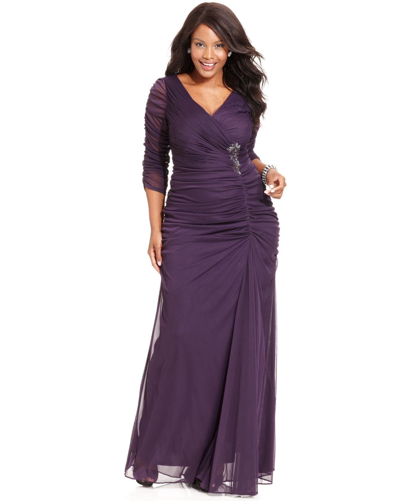 Plus Size Three-quarter-sleeve Ruched Gown