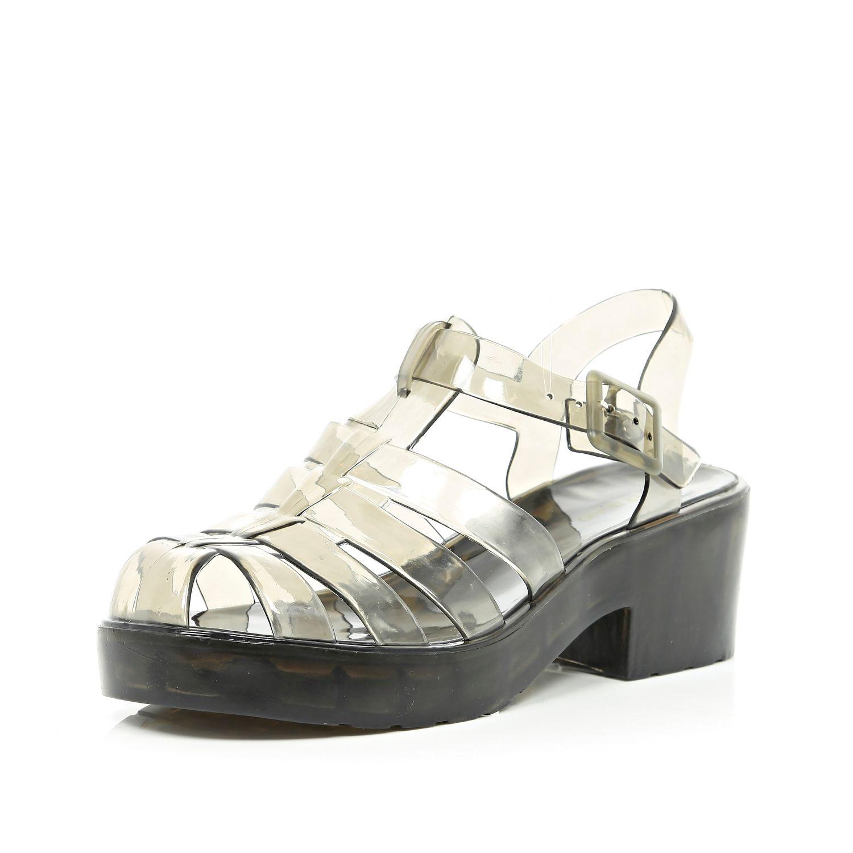 51df273f65e5 River Island Black Transparent Block Heel Jelly Sandals in White - Lyst