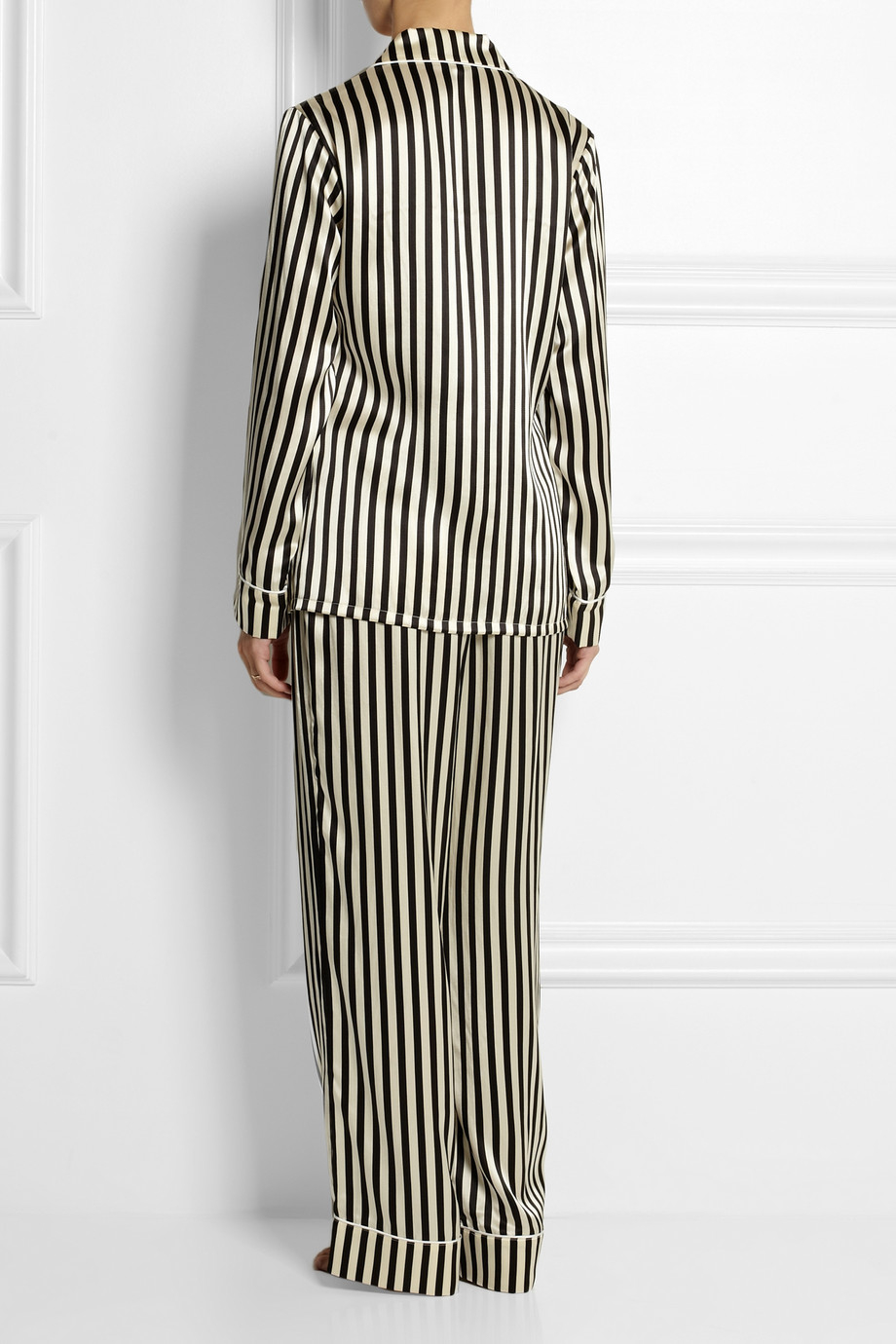 Olivia von halle Lila Nika Striped Silksatin Pajama Set in Black ...