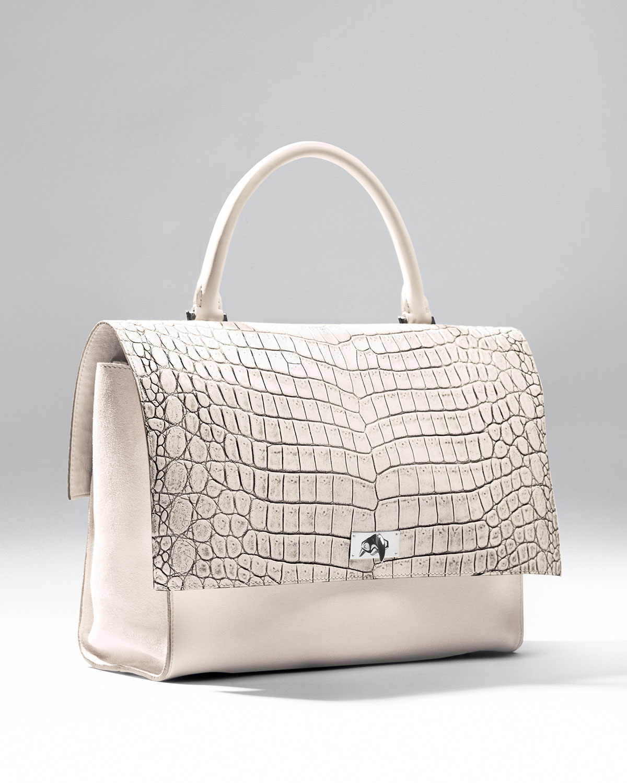 cabc23b9a72 Lyst - Givenchy Shark Medium Stamped Crocodile Bag in White