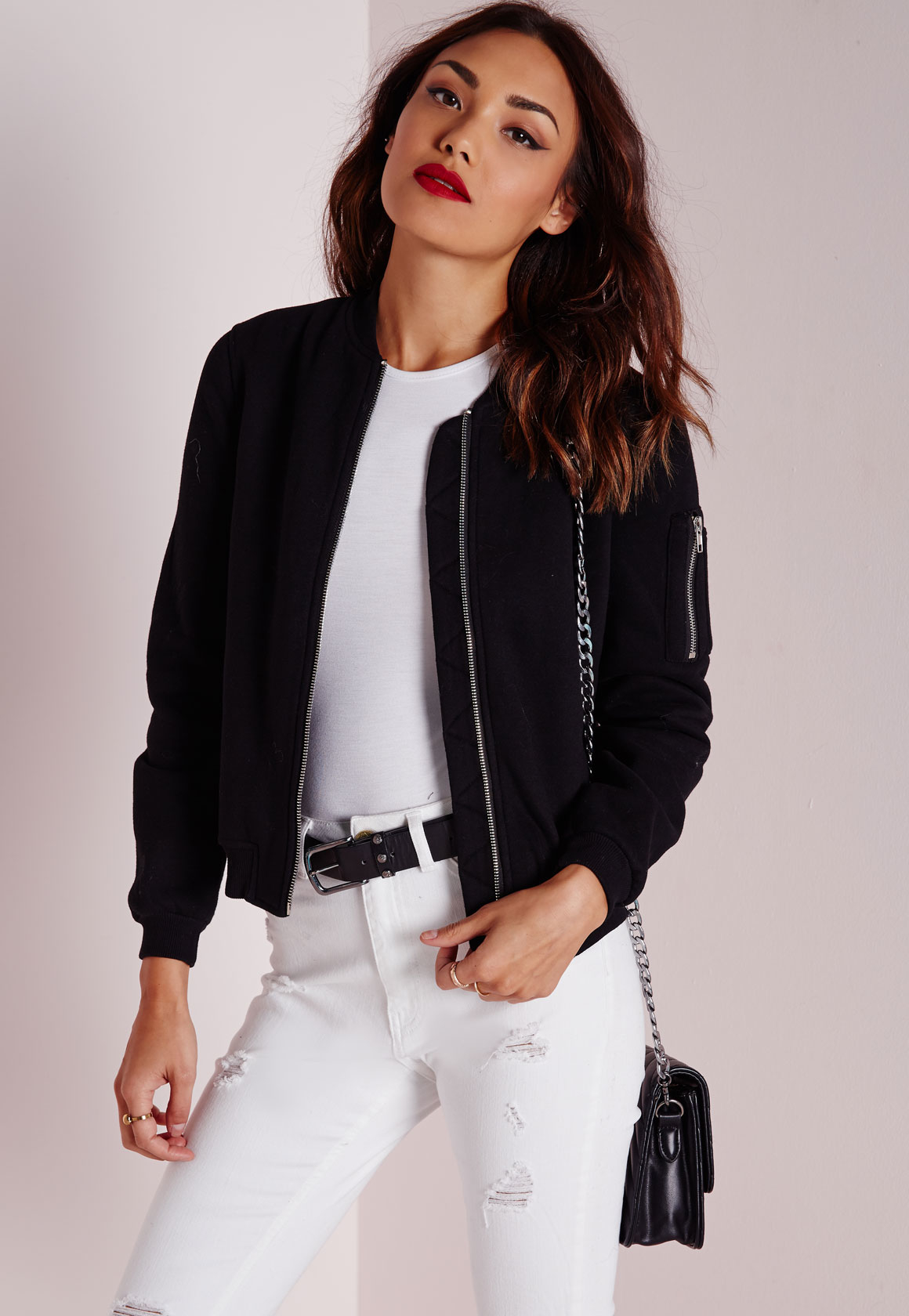 Missguided Ponte Bomber Jacket Black in Black | Lyst