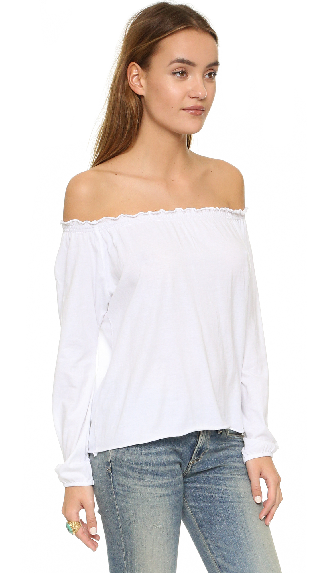 9f68e4dcb40 Chaser White Off Shoulder Cotton Peasant Blouse