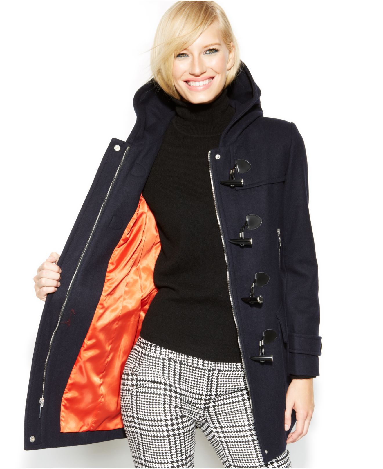 Michael kors Michael Petite Hooded Toggle Coat in Blue | Lyst