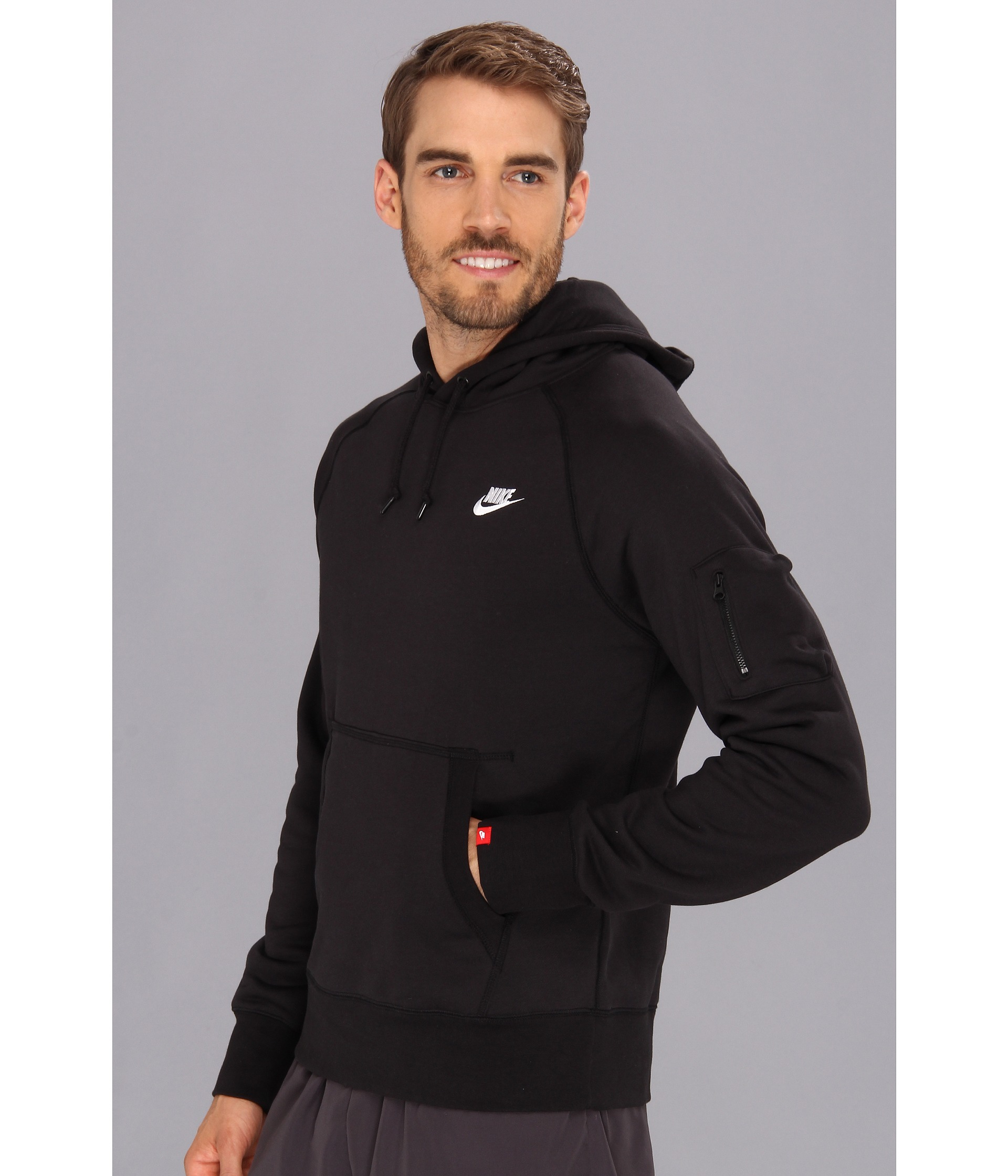 nike aw77 fleece pullover hoodie in black for men lyst. Black Bedroom Furniture Sets. Home Design Ideas