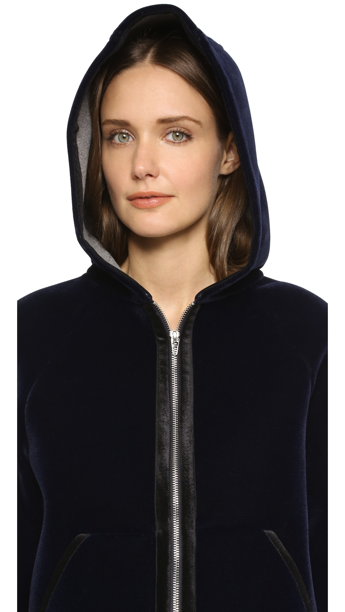 lyst t by alexander wang bonded velvet hooded jacket. Black Bedroom Furniture Sets. Home Design Ideas