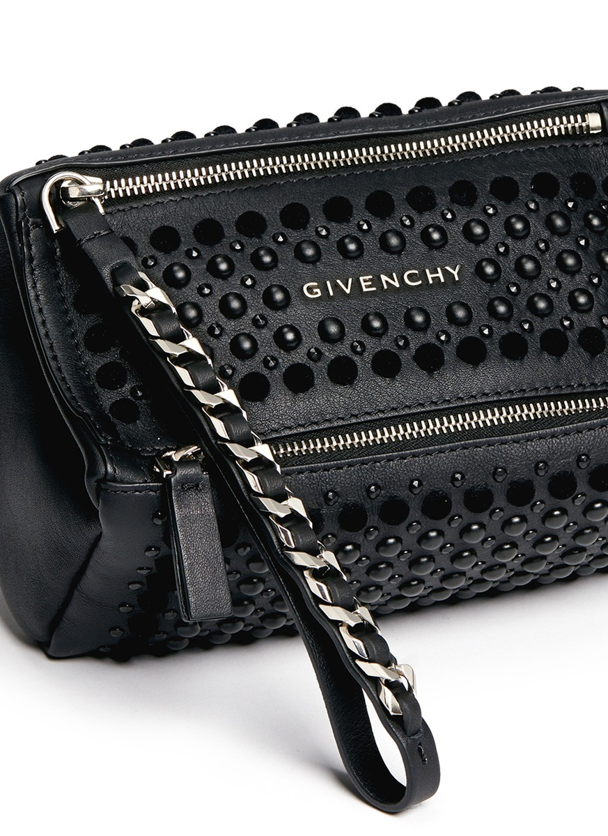 aaa8afeb593d Lyst - Givenchy  pandora  Velvet Stud Leather Wristlet Pouch in Black