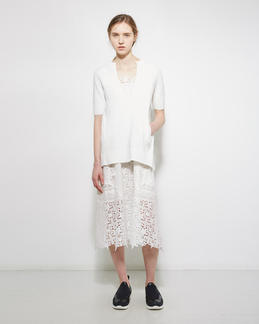 88a8b7fba Lyst - Sacai Layered Eyelet Sweater Dress in White