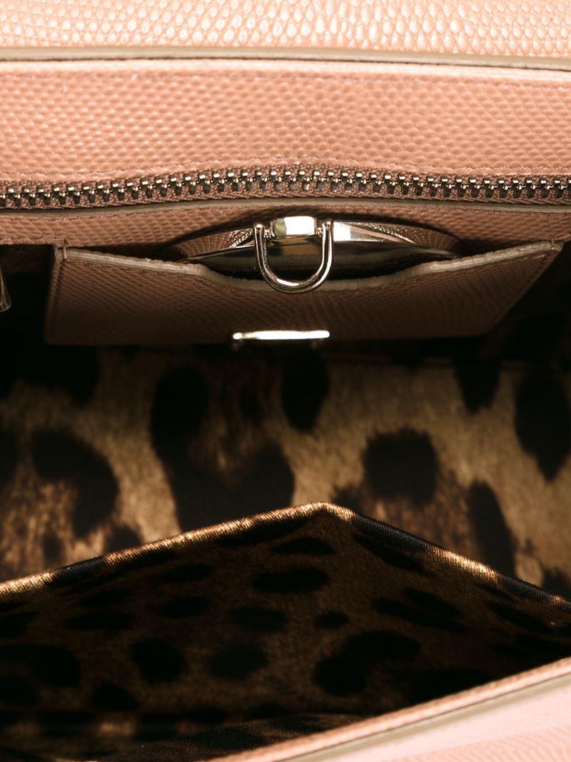 Dolce & Gabbana Leather Medium 'rosalia' Tote in Pink & Purple (Brown)