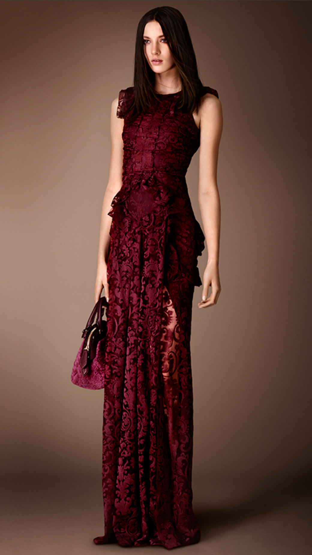 Lyst Burberry Floor Length Embroidered Lace Dress In Red