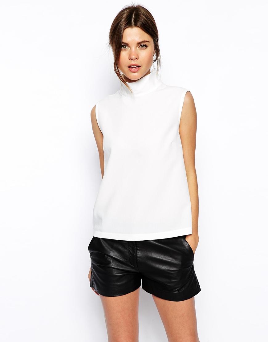 9888b7d021de0c Lyst - ASOS High Neck Sleeveless Top in White
