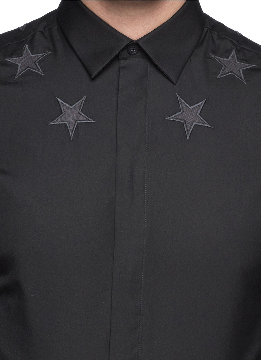 Givenchy star embroidery oxford shirt in black for men lyst for Givenchy 5 star shirt