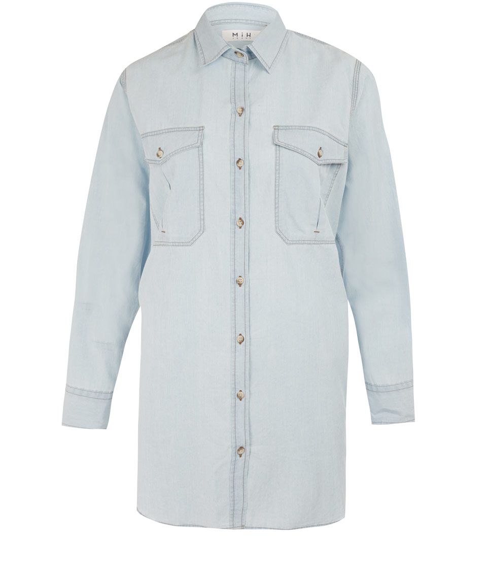 Mih jeans light blue chambray denim shirt in blue for men for Chambray jeans