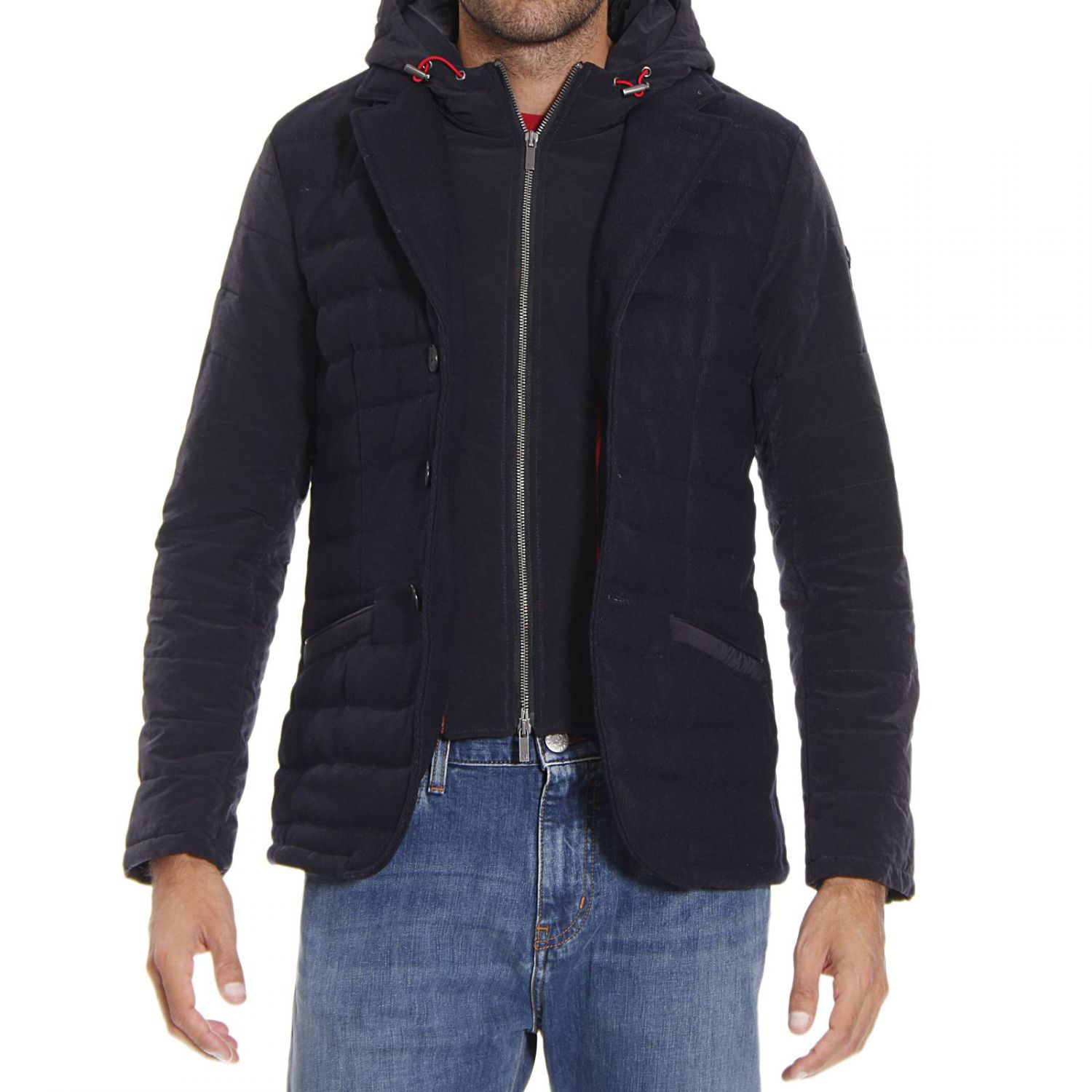 armani jeans down jacket in blue for men lyst. Black Bedroom Furniture Sets. Home Design Ideas