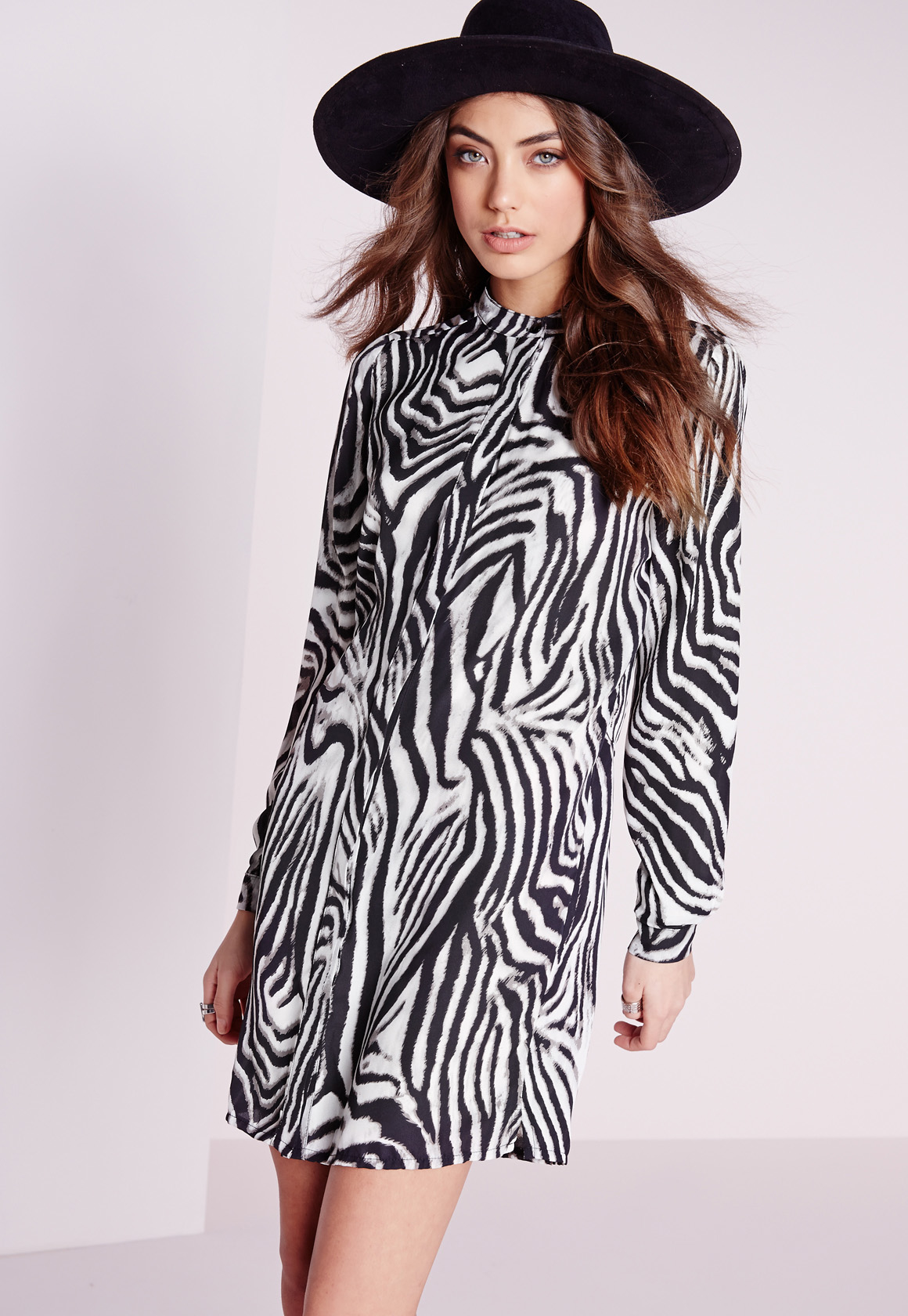 Animal Print Manicure: Missguided Collarless Shirt Dress Zebra Print In Black