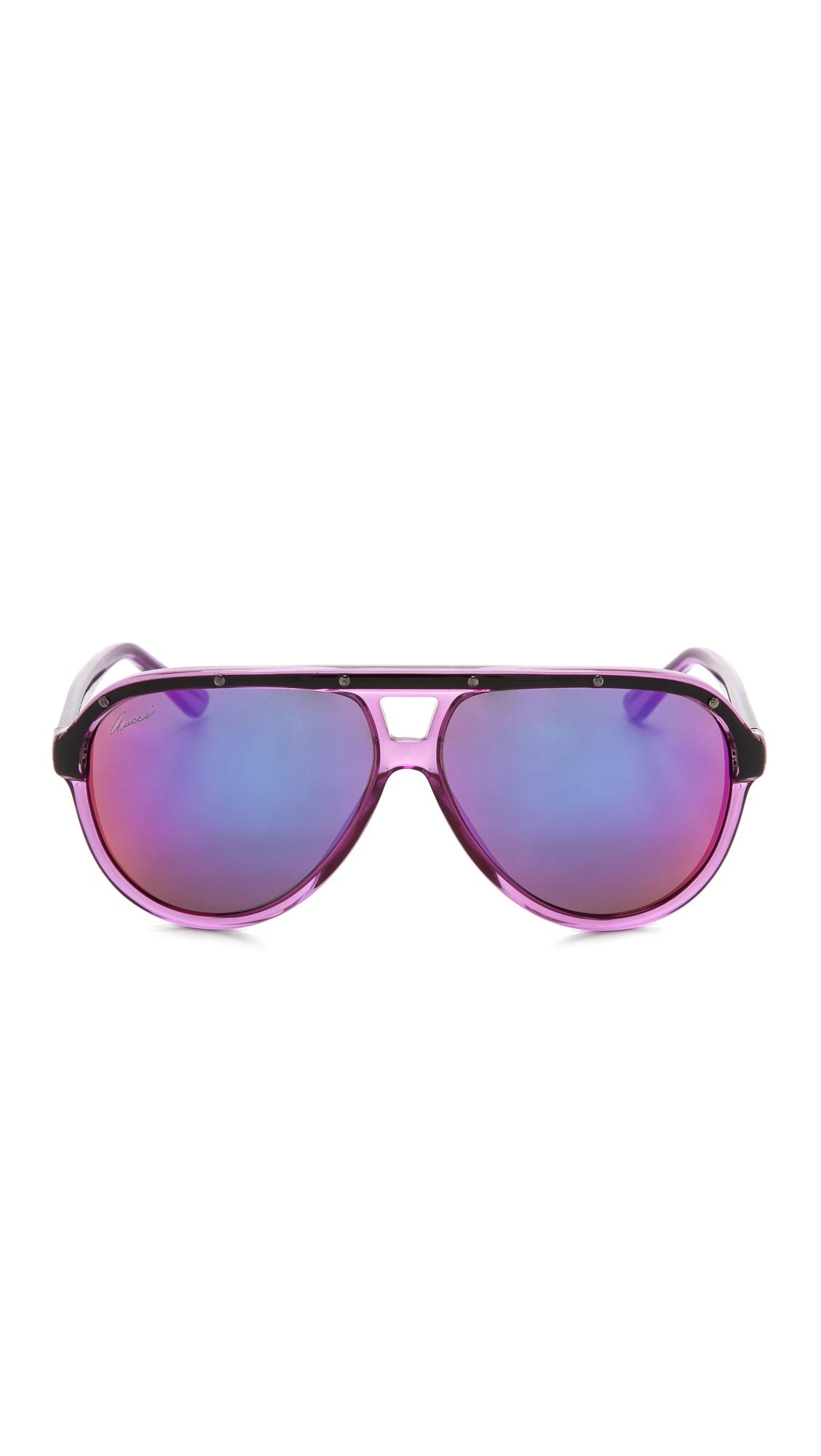 f7fdeff11f5 Lyst - Gucci Aviator Sunglasses - Violet Black pink in Purple