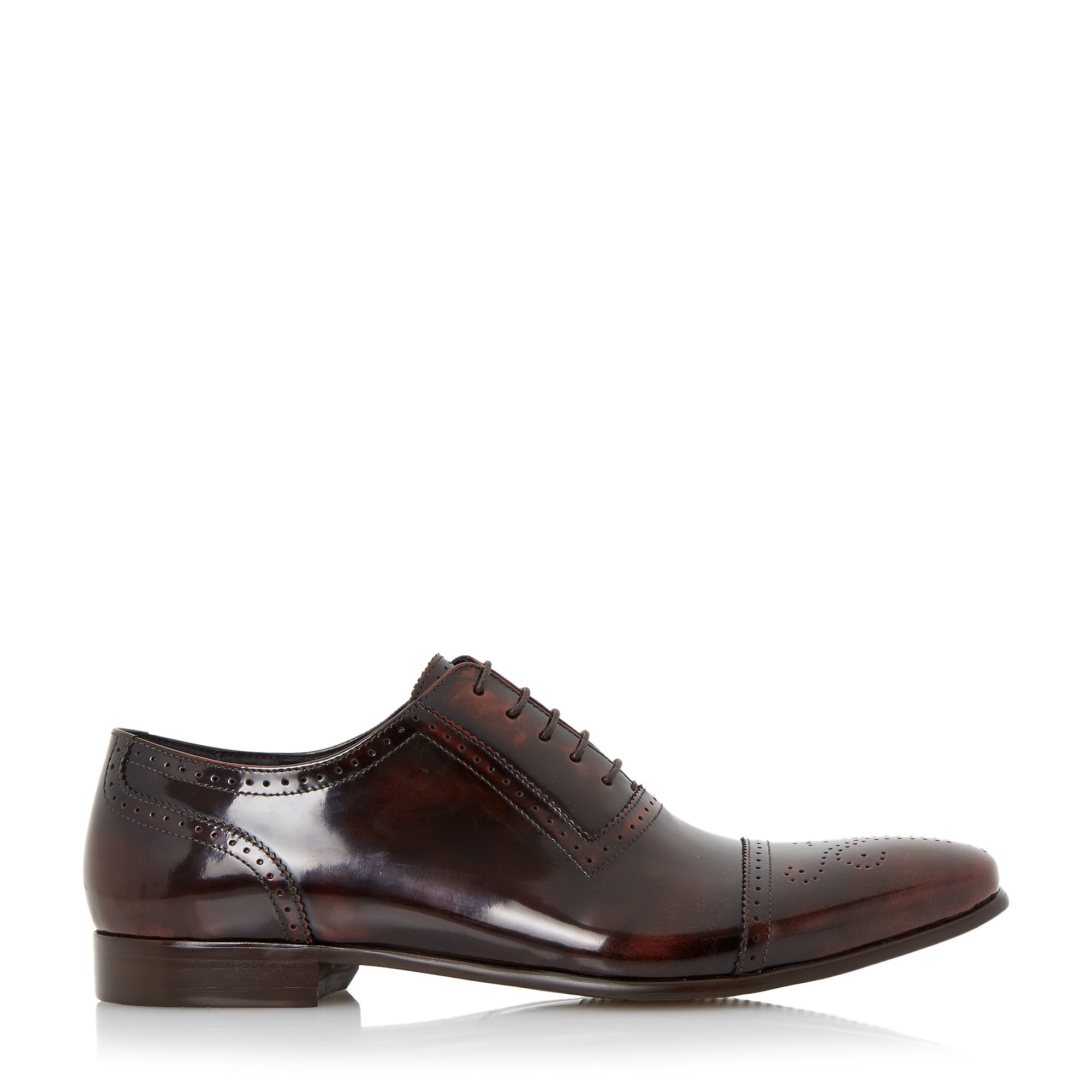 dune rule toecap detail leather oxford shoe in brown for