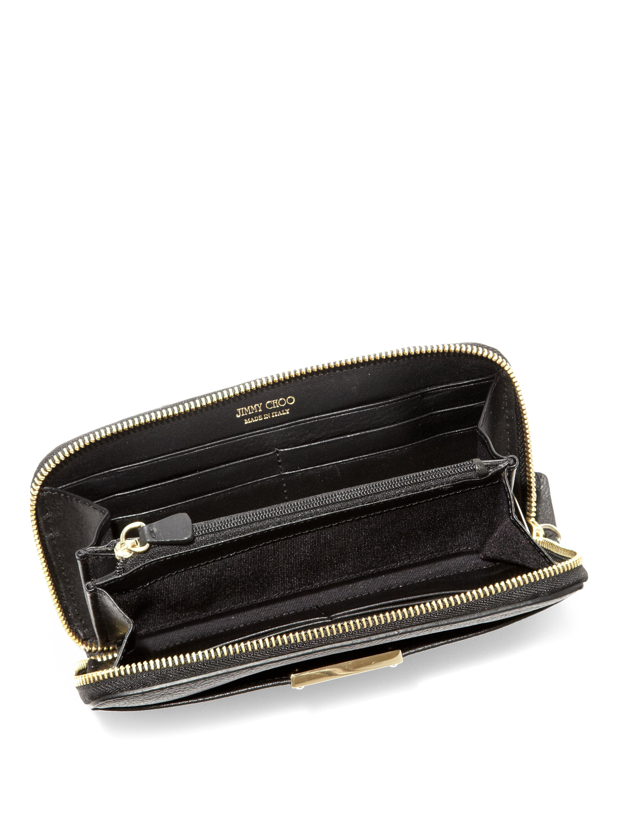 3c41bb4925b Jimmy Choo Rush Leather Zip Continental Wallet In Black Lyst