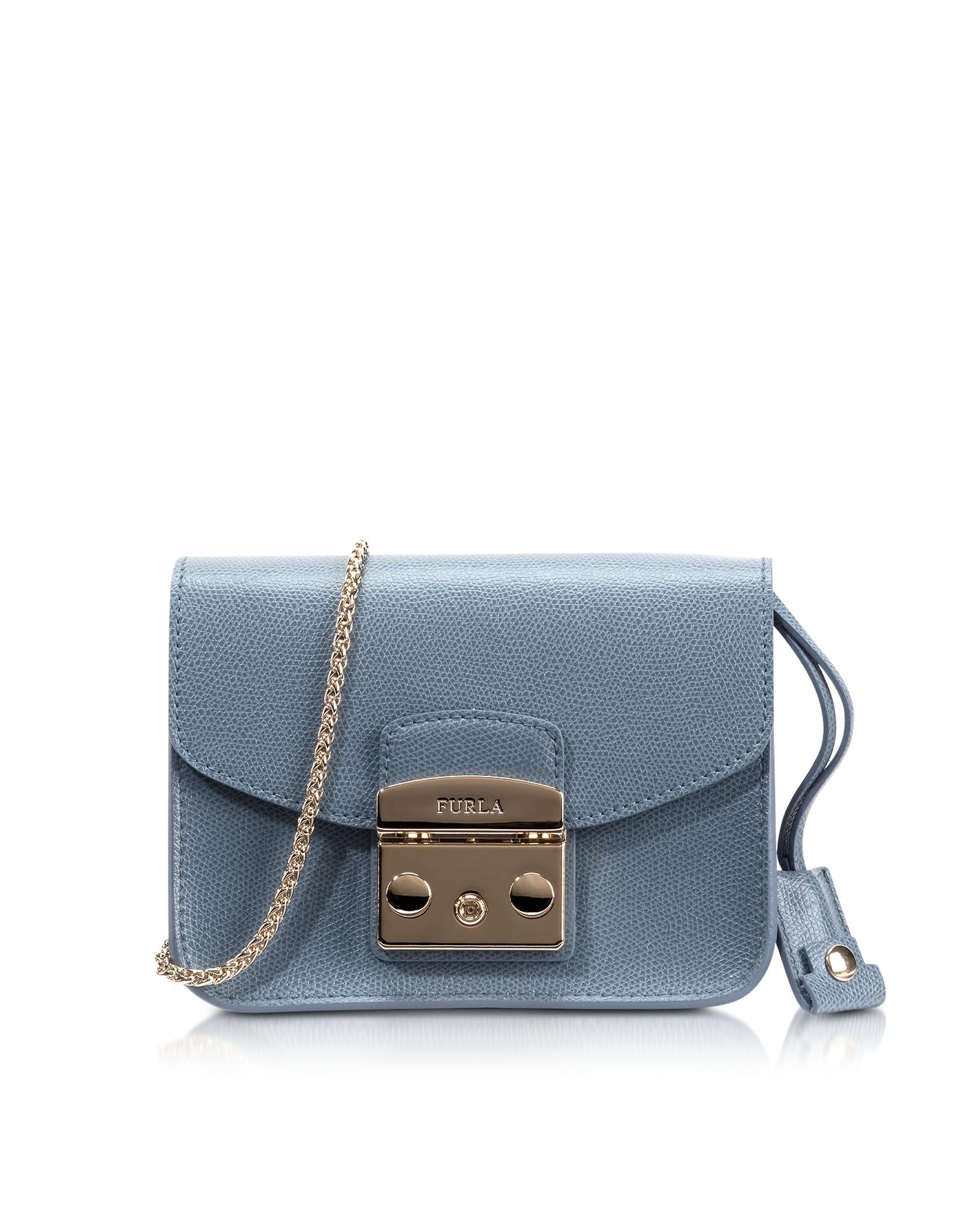 1d6dc8d40599f Lyst - Furla Metropolis Dolomia Leather Mini Crossbody Bag in Blue