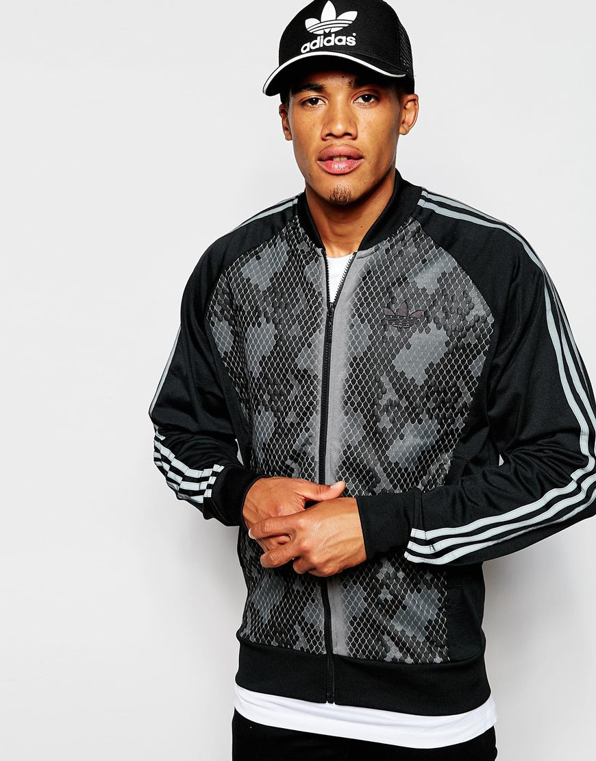 4b1b263f909c Lyst - adidas Originals Track Jacket With Snake Panel in Black for Men