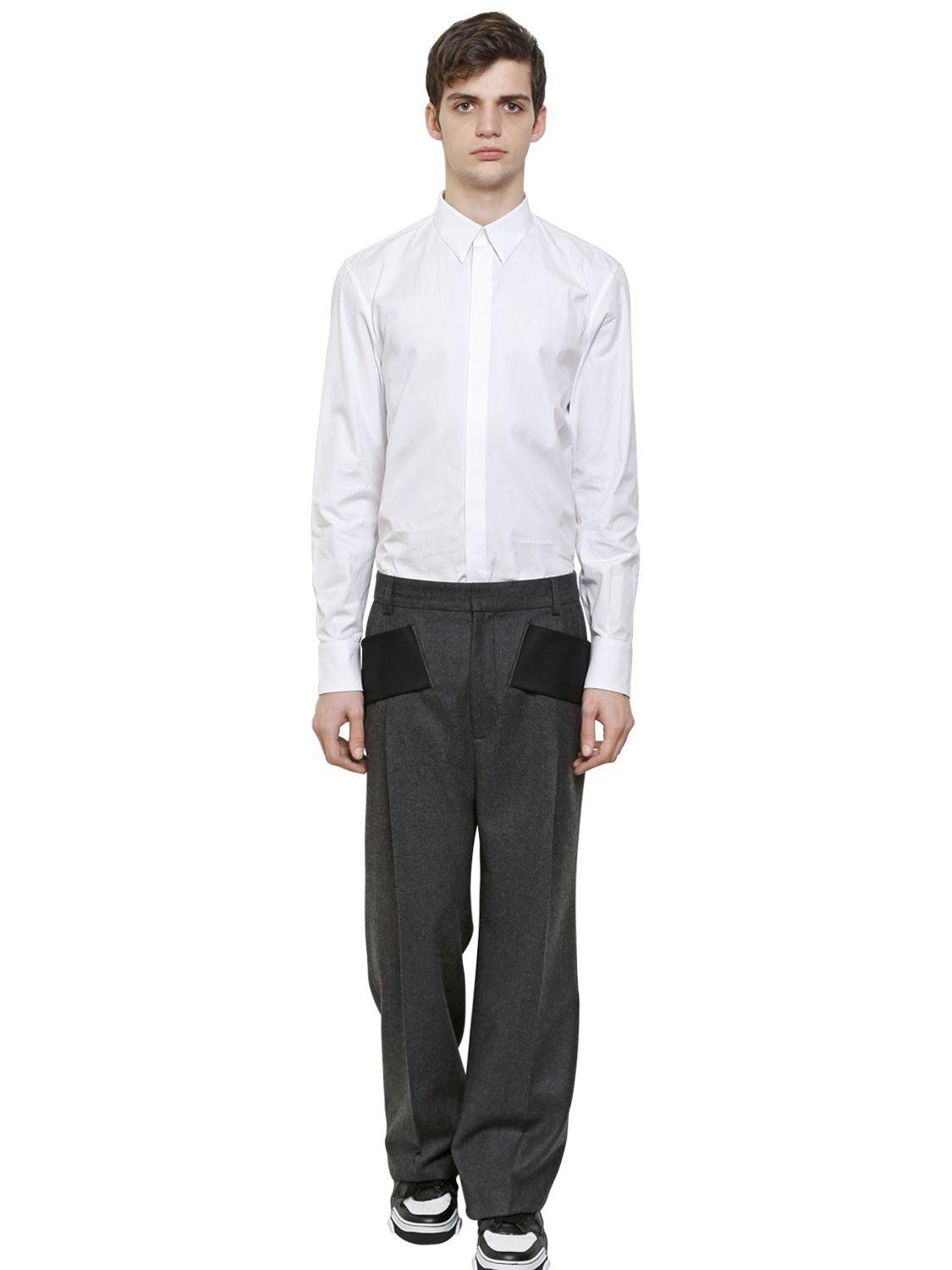 Givenchy Wide Leg Wool Flannel Trousers in Grey/Black (Grey) for Men