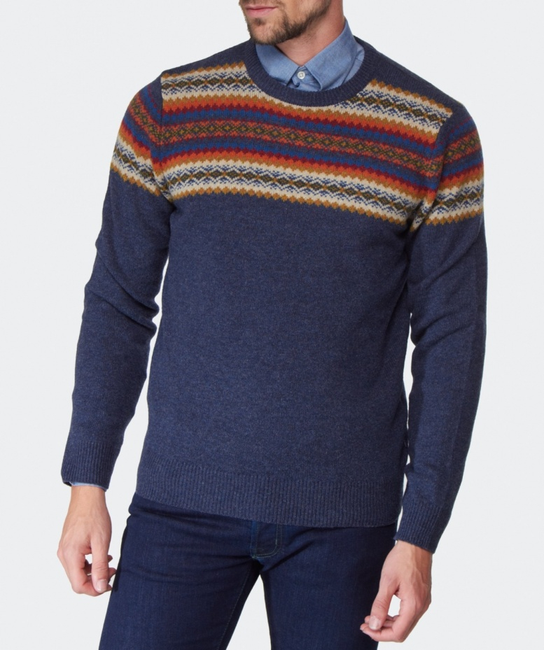 Lyst - Gant Fair Isle Crew Neck Sweater in Blue for Men