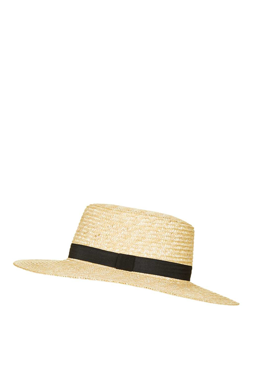 TOPSHOP Natural Straw Boater Hat in Natural - Lyst 8a5af16f2c1