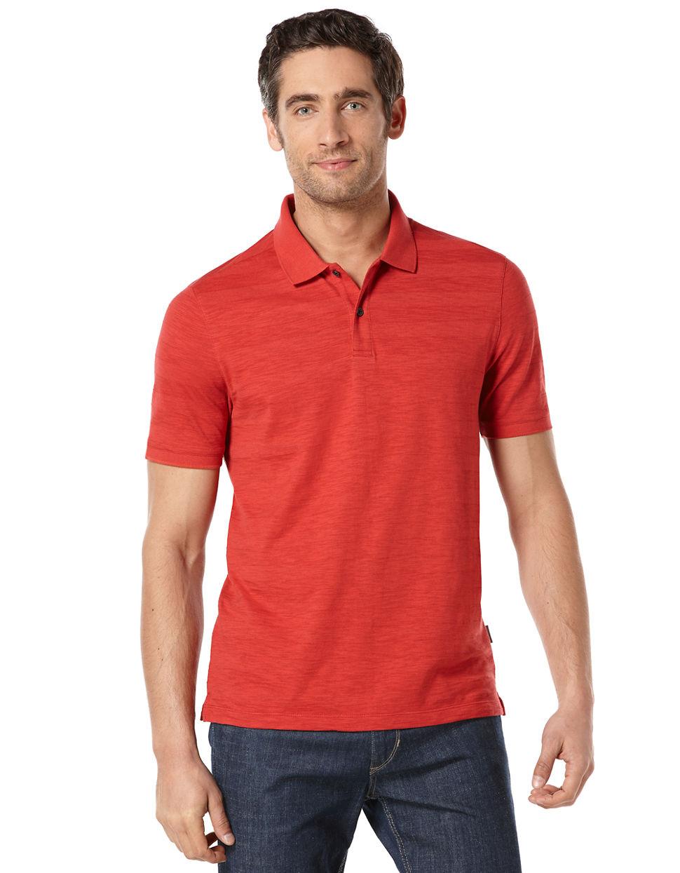 Perry Ellis Slub Stripe Polo Shirt In Red For Men (Bright
