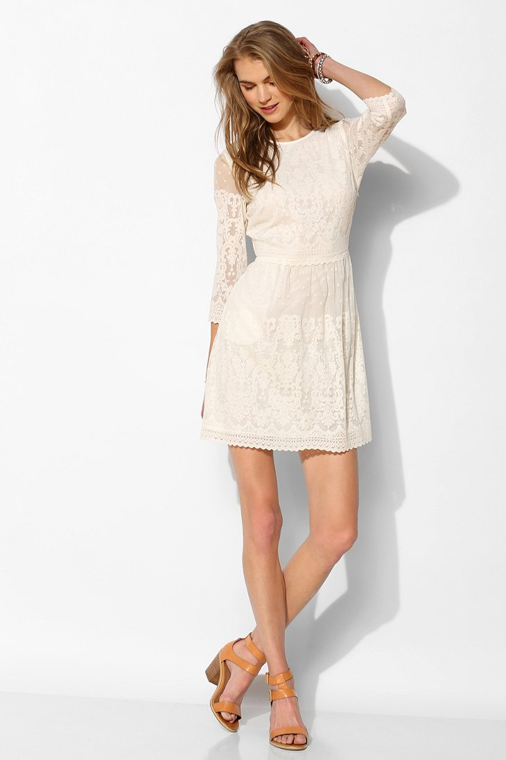 Dolce Vita Dv By Val 34sleeve Lace Shift Dress In White Lyst