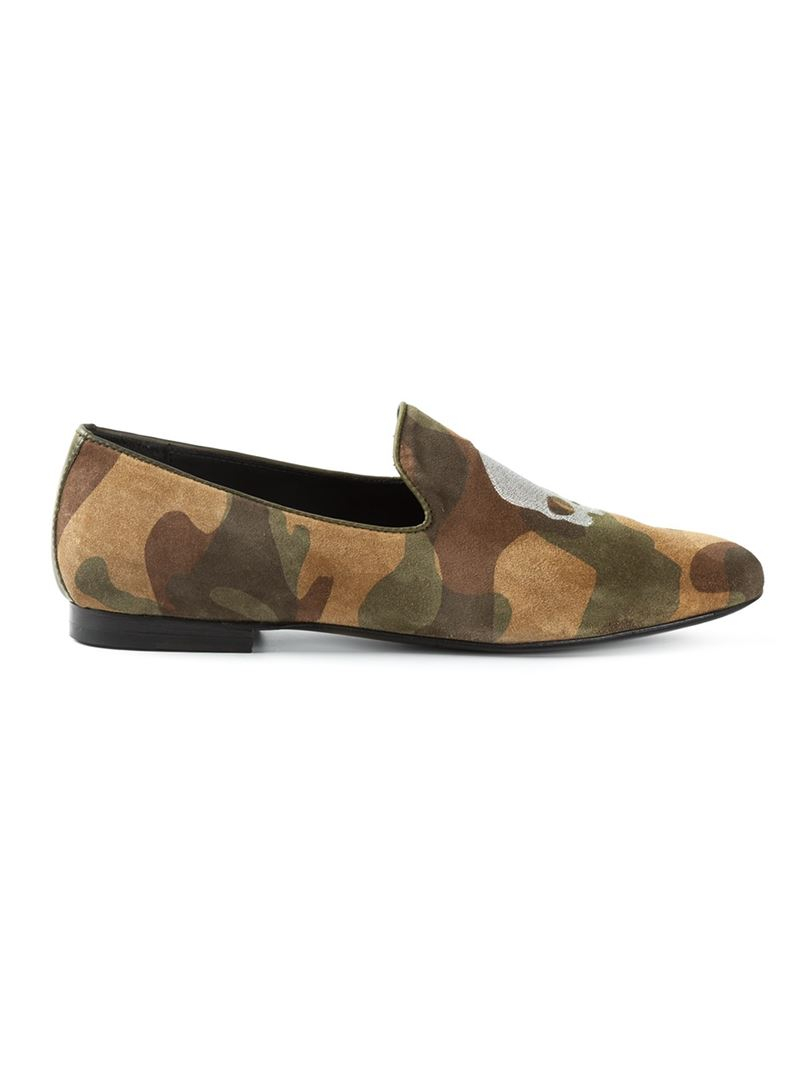 Hydrogen Camouflage Loafers in Green for Men