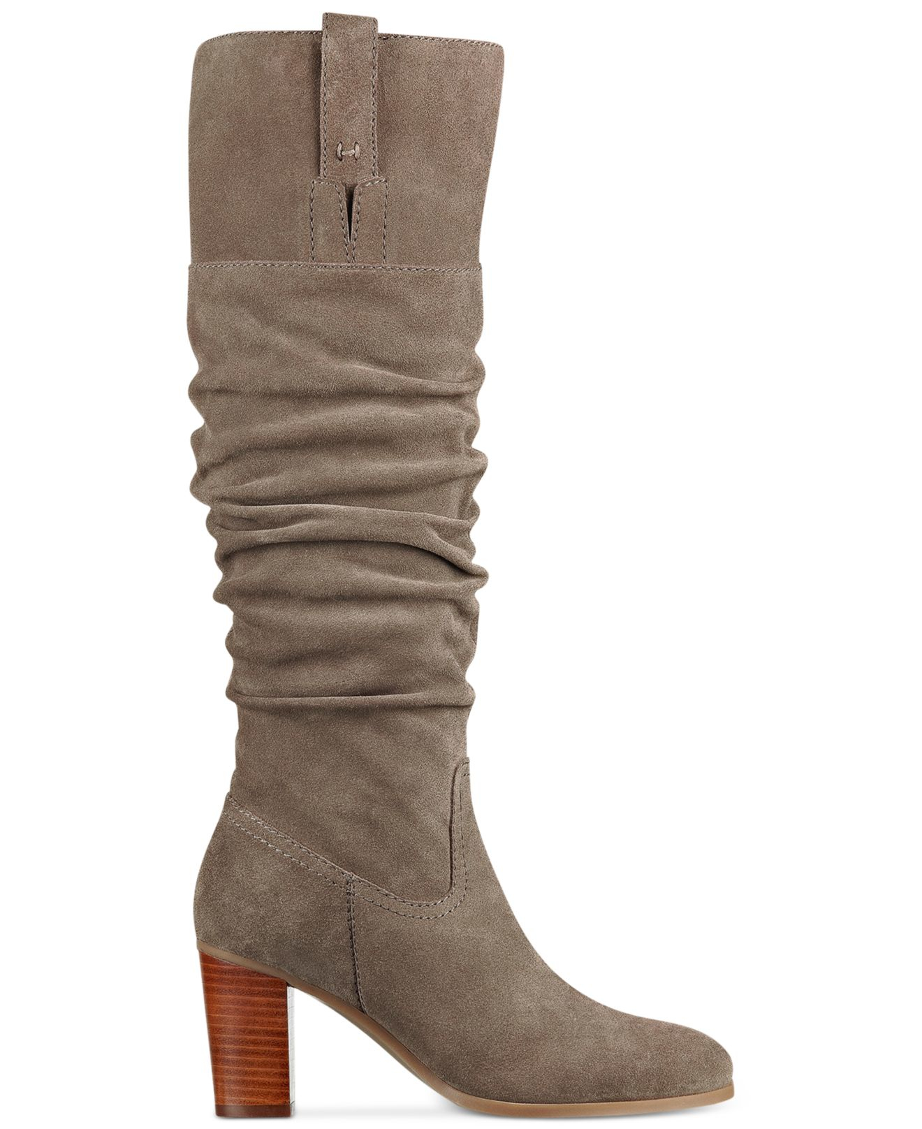 hilfiger trinety slouchy boots in brown canteen