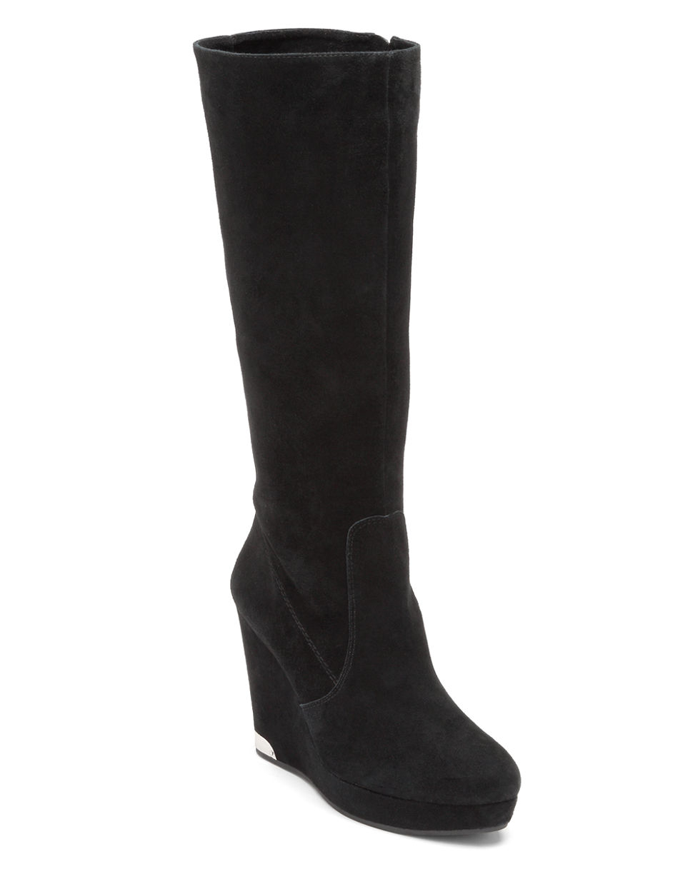 vince camuto kessie suede boots in black lyst