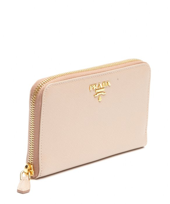 prada cameo pink leather wallet