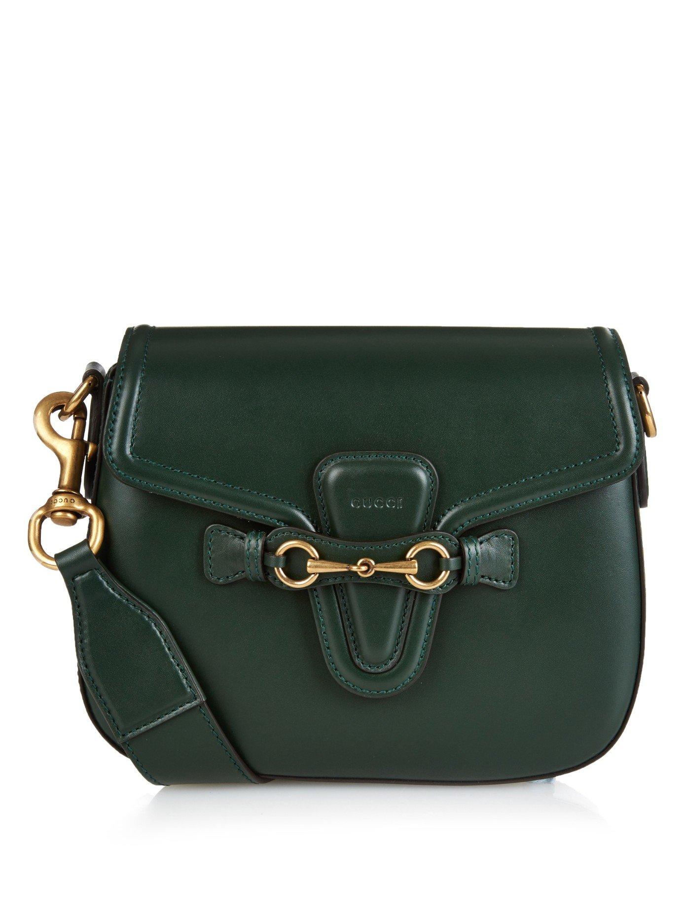 6f28303db43 Lyst - Gucci Lady Web Medium Leather Cross-body Bag in Green