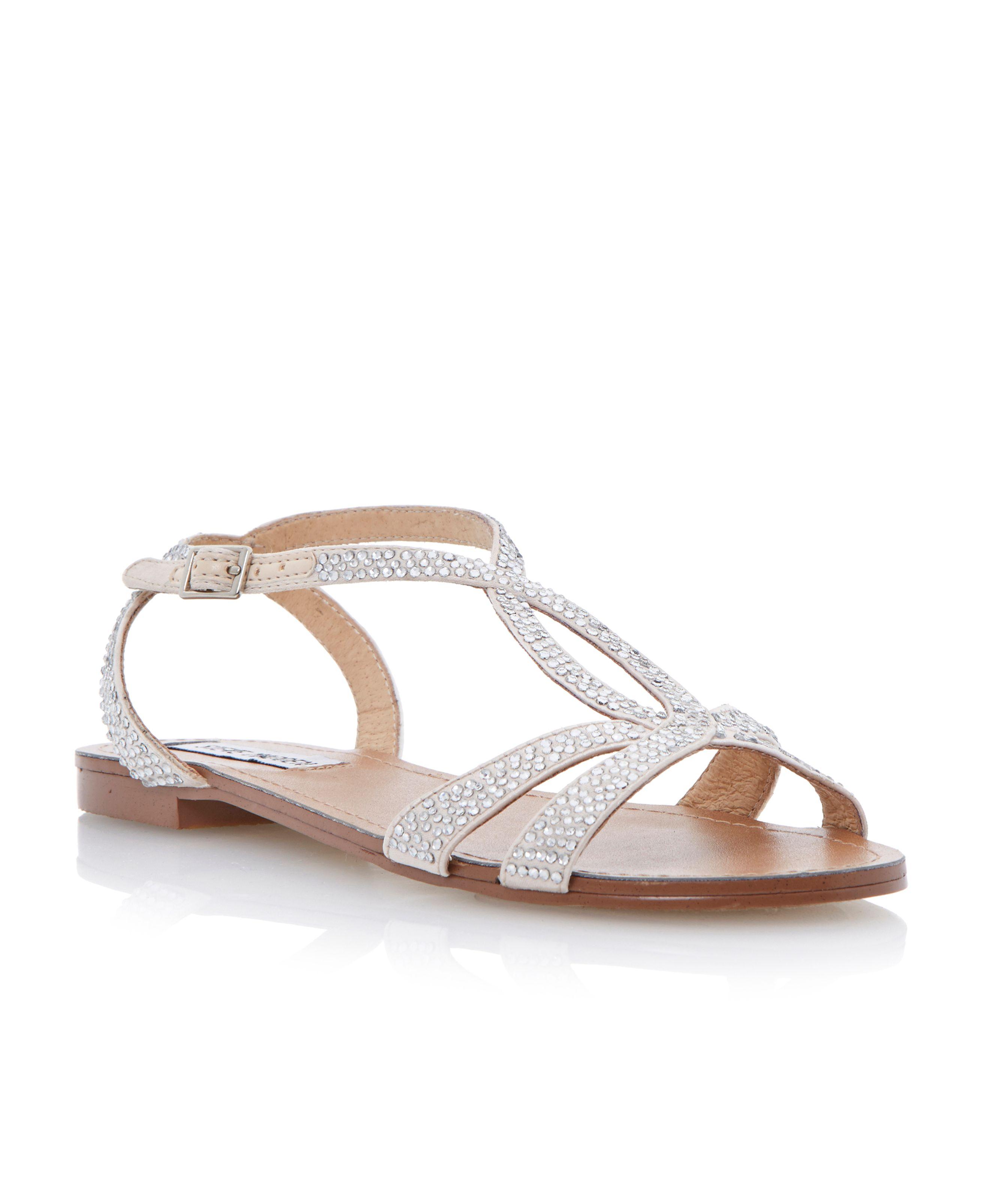 Steve madden Starrz Diamante Crossover Flat Sandals in ...
