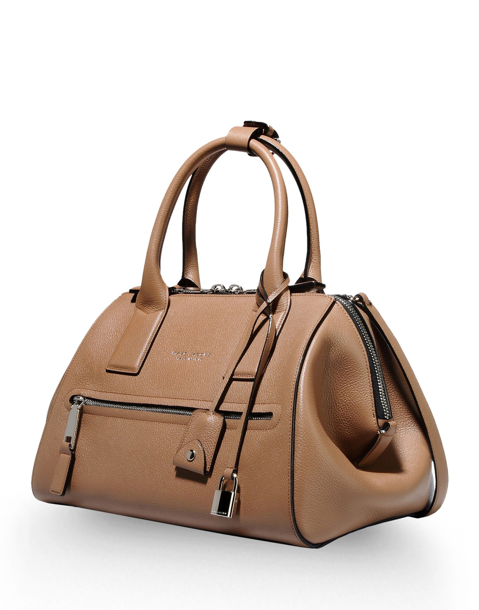 marc large leather bag in brown khaki lyst